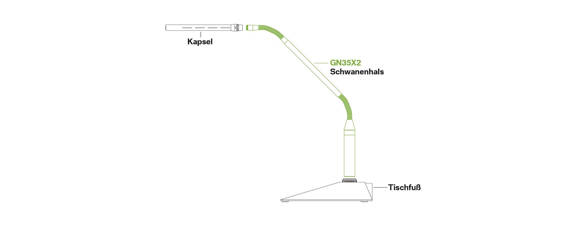 GN35X2 Schwanenhals Konferenzmikrofone Diskussion System LEWITT Tischfuß mobile