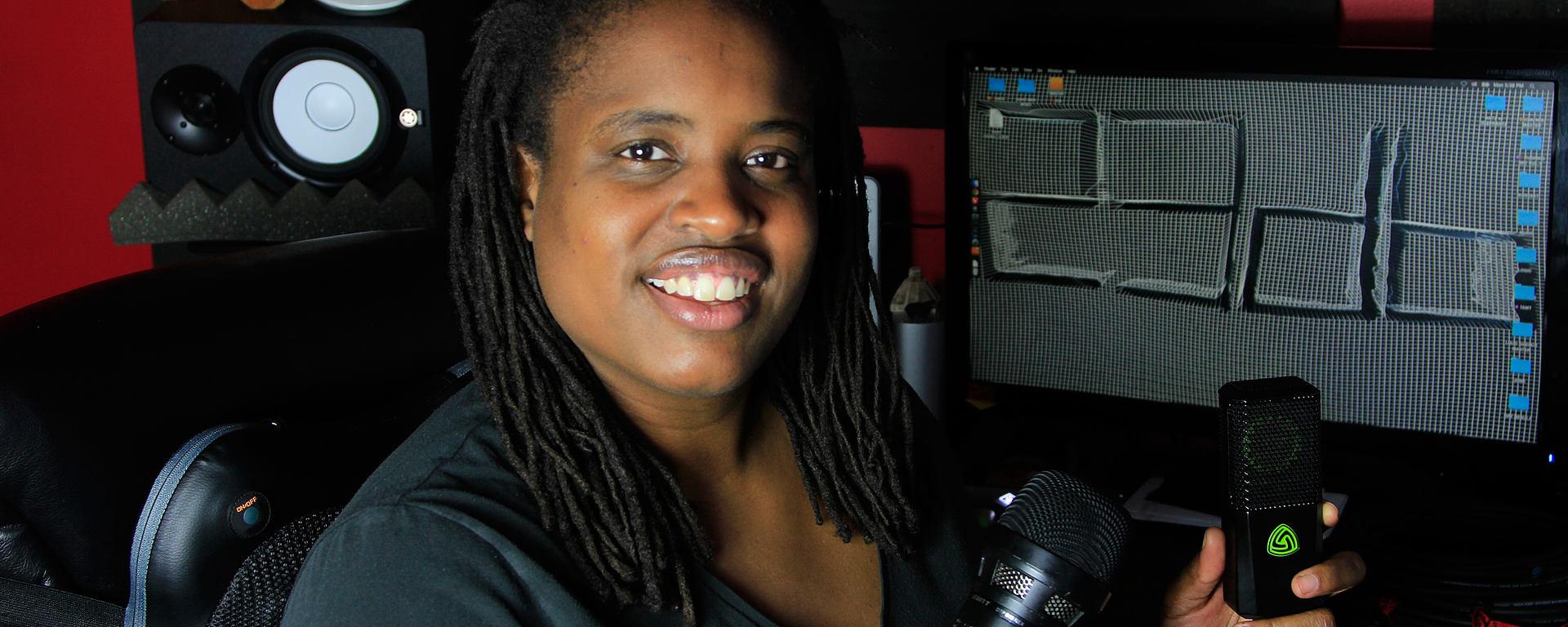 Fela Davis with LEWITT microphone in her studio