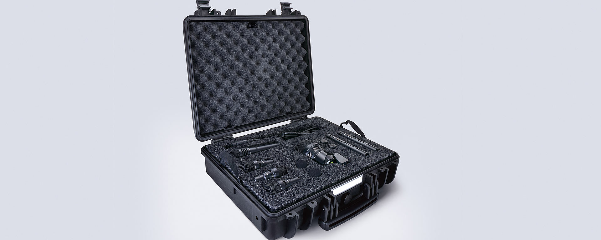 This image shows the DTP Beat Kit Pro 7 drum microphone package in its case
